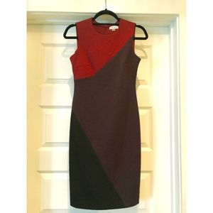 Calvin Klein asymmetric color block business dress